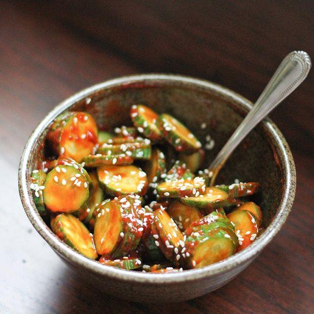 Persian cucumber salad with gochujang and sesame seeds.