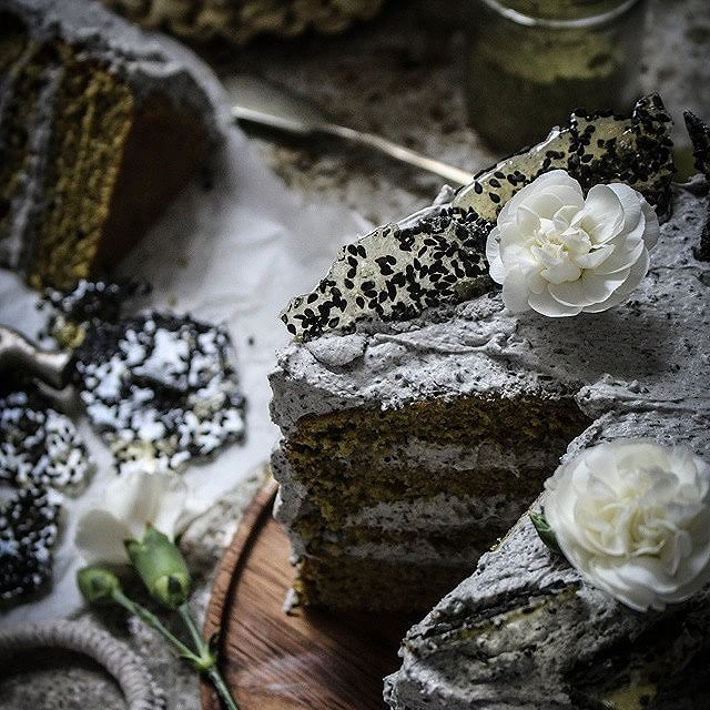 Matcha Green Tea Cake With Black Sesame Frosting & Sesame Seed Brittle