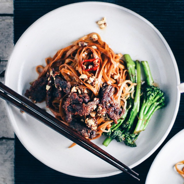 """""""take-out"""" Crispy Beef & Broccoli Noodles With Kung Pao Chili Oil"""