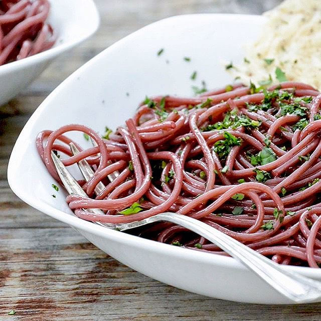 Red Wine Spaghetti With Parmesan Wafers