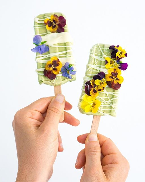 Vegan White Chocolate Basil Ice Cream Pops
