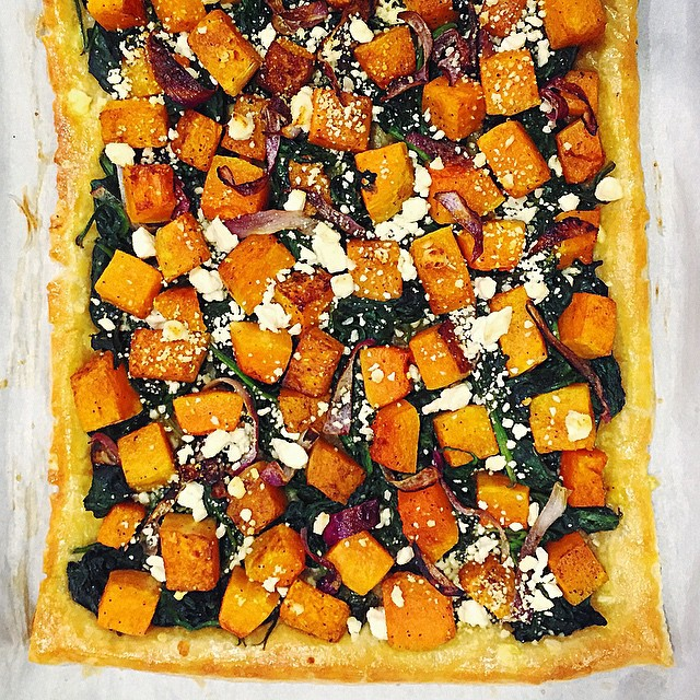 Spiced Butternut Squash & Spinach Tart With Onion, Cinnamon & Cayenne