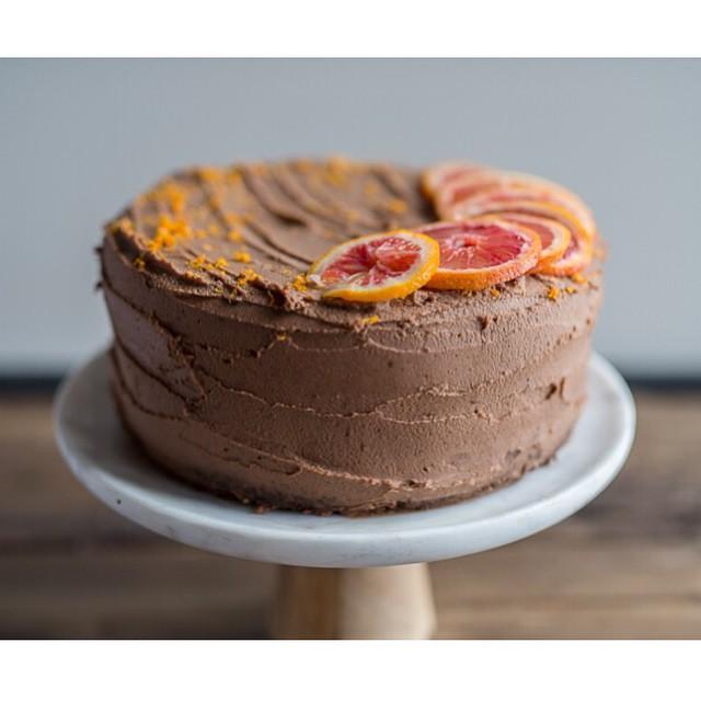 Chocolate Cardamom Vanilla Spice Cake With Blood Orange Chocolate Ganache Frosting