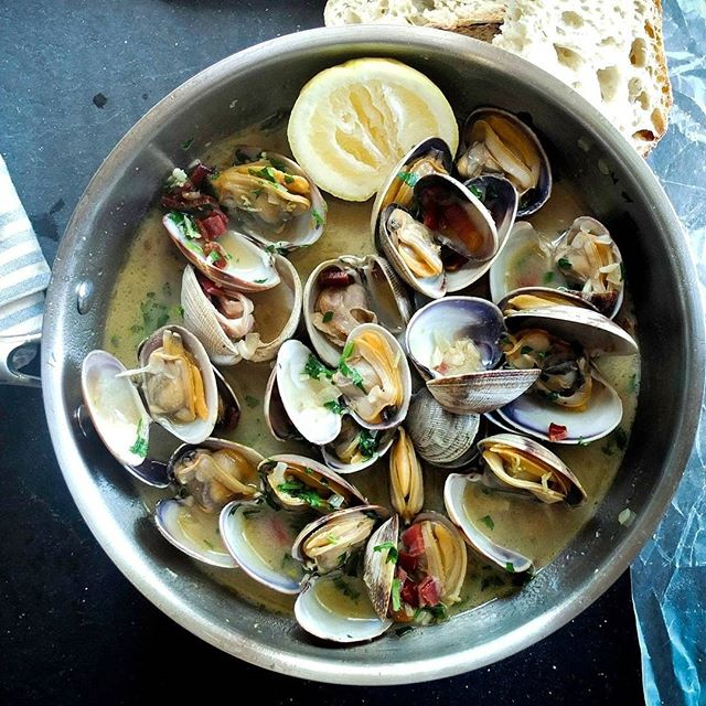Steamed Clams With White Wine, Butter, Pancetta, Lemon And Garlic