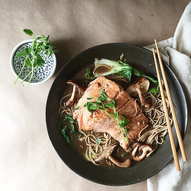 Miso, Ginger And Mushroom Poached Salmon