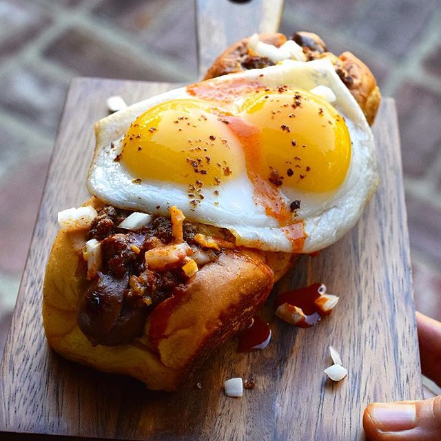 Lucky Double Duck Wagyu Chili Cheese Dog w/ghost peppers n' Tapatio on 3 butter seared n'split…