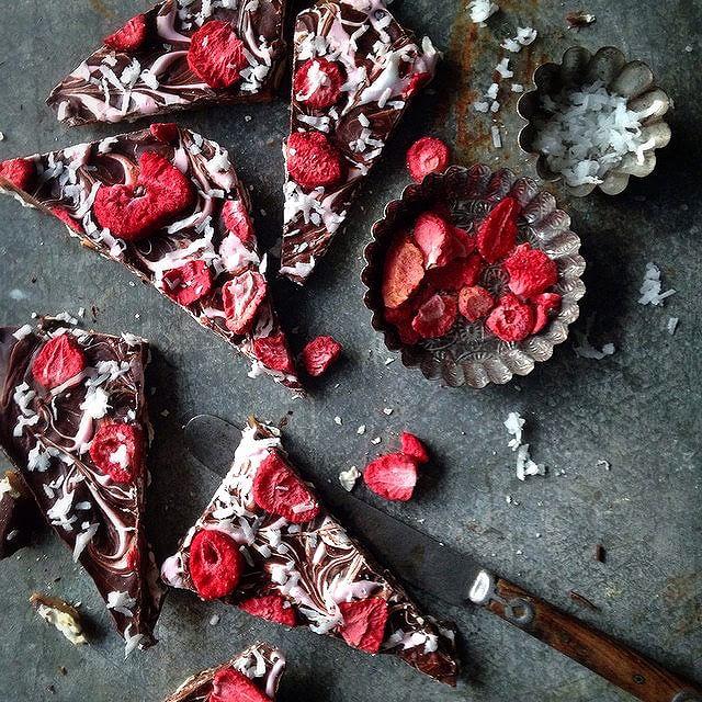 Chocolate Caramel Matzo Bark With Strawberries And Coconut