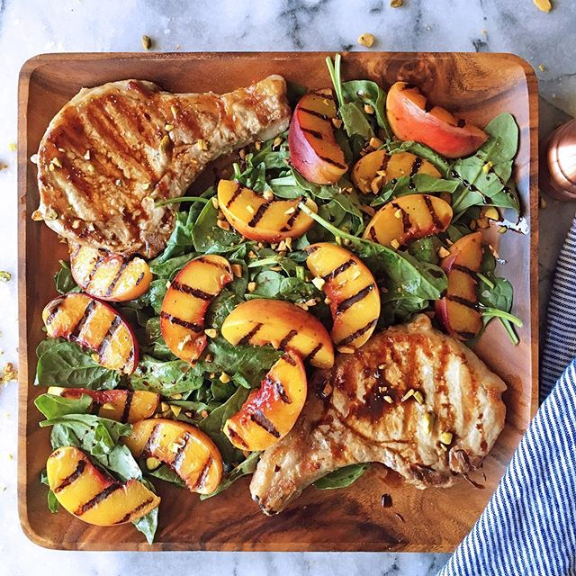 Grilled Bone-In Pork Chops, With A Spinach And Grilled Peach Salad