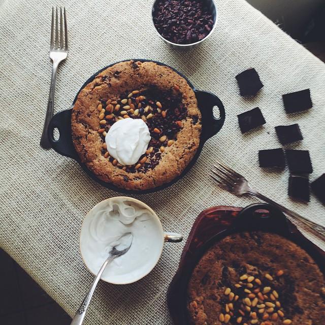 Vegan Cherry & Chocolate Pine Nut Cookie Cake