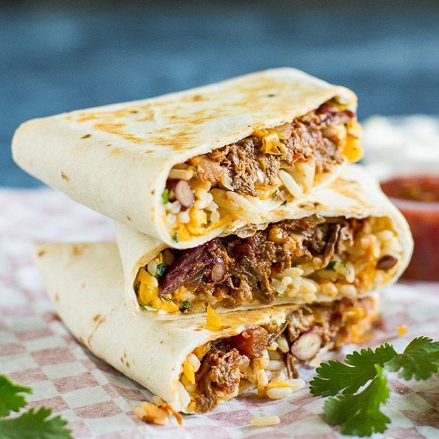 Chili And Rice Burritos With Cheddar Cheese