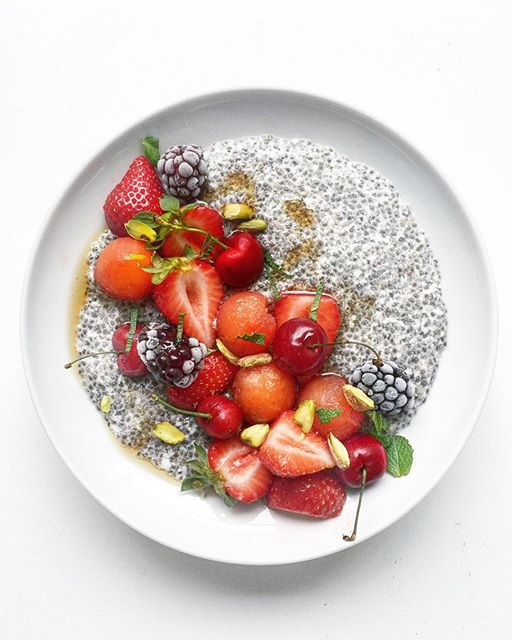 life is a bowl of cherry berry coconut chia . coconut chia with cherry berry melon mint pistachios…