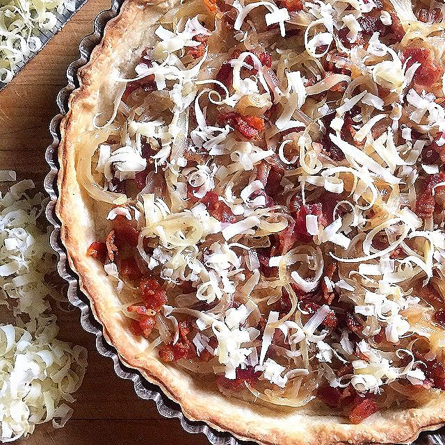 Bacon & Onion Tart With Gruyere & Goat Cheese
