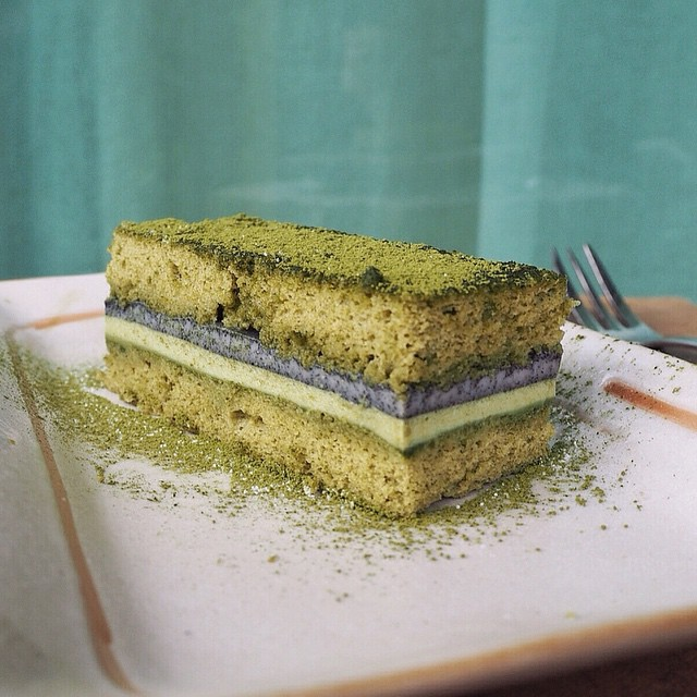 Matcha Sponge Cake With Matcha & Black Sesame Mousse & Black Sesame Jelly