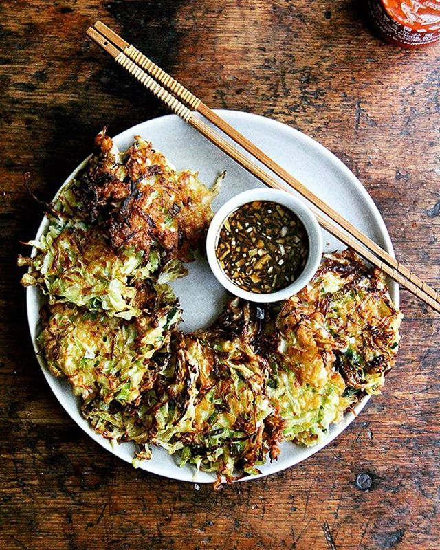 Japanese Style Cabbage Pancakes With Spicy Soy Dipping Sauce