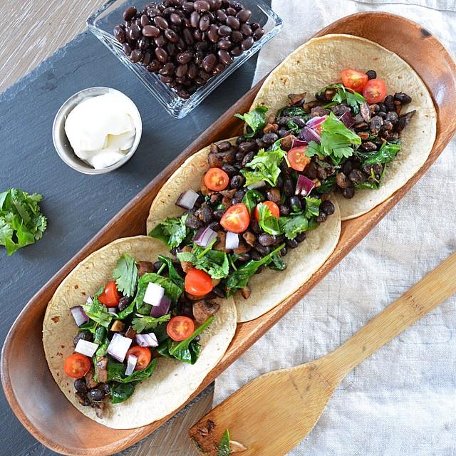 Portobello And Black Bean Tacos