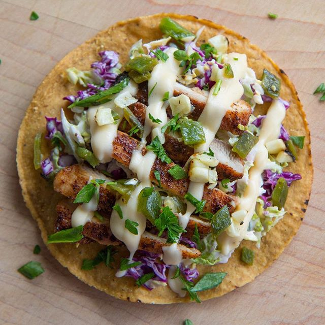 Grilled Chicken Tostada With Creamy Jack Cheese Sauce ...