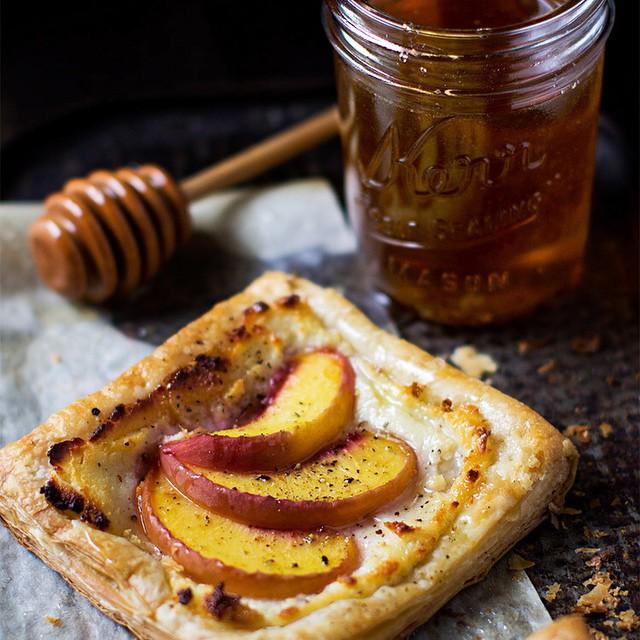 Peach Tart With Goat Cheese & Honey