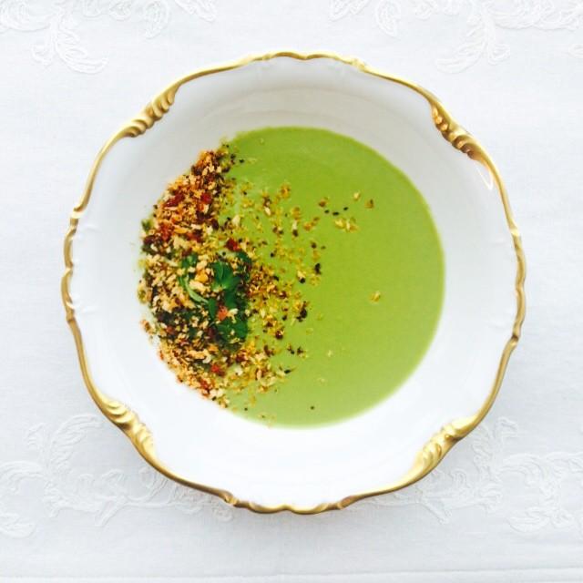 Pea Soup With Chorizo Breadcrumbs