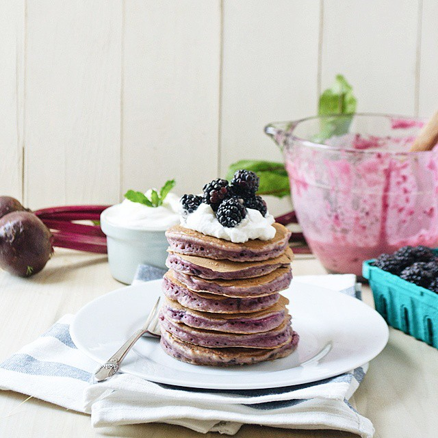 Roasted Beet And Blackberry Pancakes
