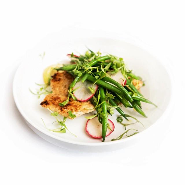 Chicken Paillard With Haricot Vert, Cilantro & Garlic