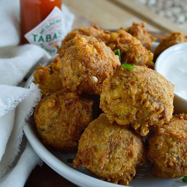 Spicy Cajun Crab Corn Fritters With Creamy Tabasco Dipping Sauce