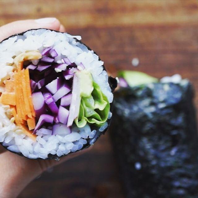 Sushi Inspired Burrito With Mushrooms, Bok Choy And Sriracha Mayo
