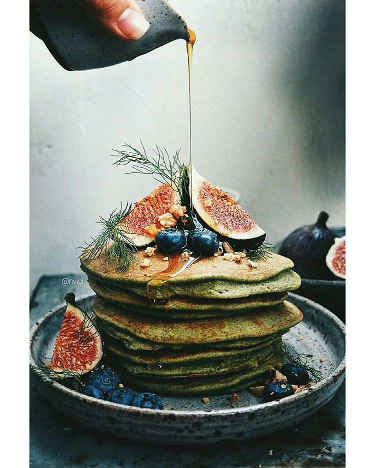 Gluten Free Moringa Pancakes With Fresh Figs, Blueberries, Toasted Walnuts And Honey