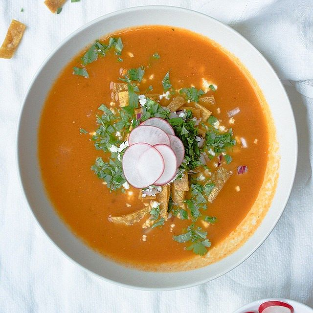Sopa Azteca With Queso Fresco And Tortilla Chips