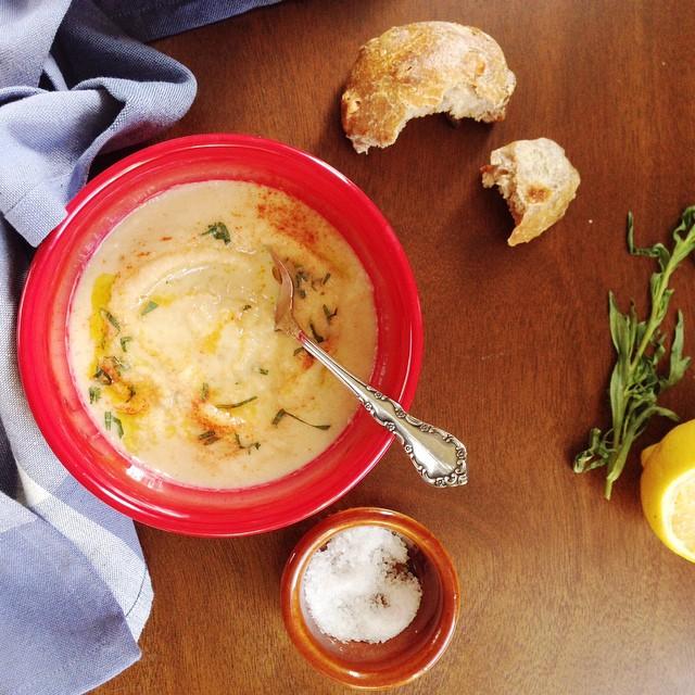 Celeriac Soup With Tahini, Tarragon, & Leeks