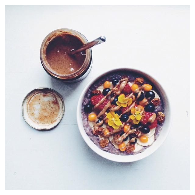 Wild Blueberry & Cardamom Porridge With Fresh Berries, Almond Butter & Manuka Honey