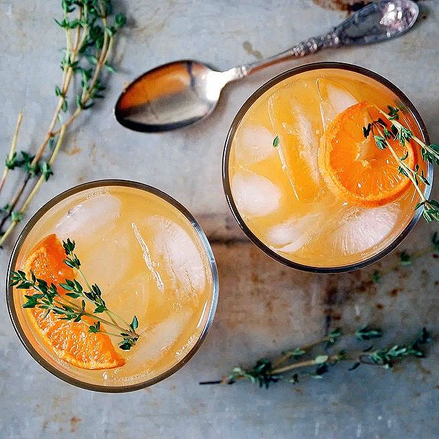 Vodka Clementine Cocktails With Thyme Simple Syrup