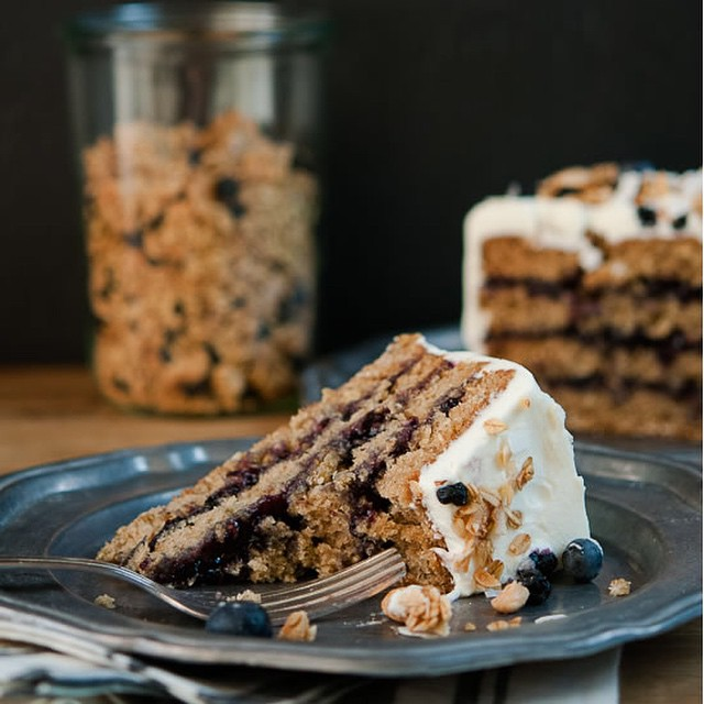 Blueberry & Almond Granola Cake With Cream Cheese Frosting