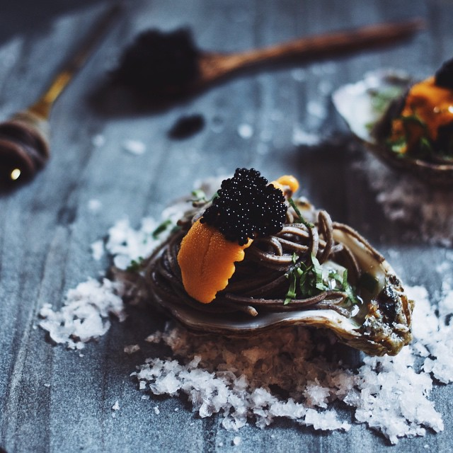 Oyster Shooter With Uni, Soba And Caviar