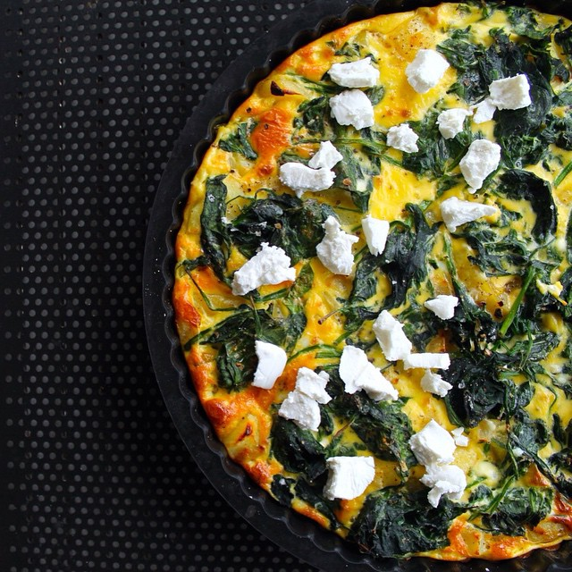 Spanish Potato Tortilla With Spinach, Crumbled Goat Cheese & Greek Yogurt