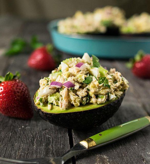 Tahini Tuna Salad Stuffed Avocado