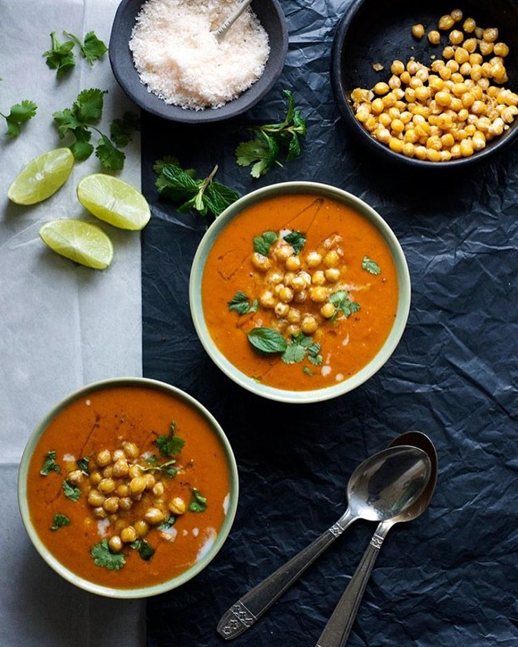 Tomato-Coconut Soup with Spiced Chickpeas