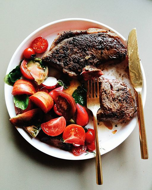 Seared Steak With Simple Tomato, Radish And Watercress Salad