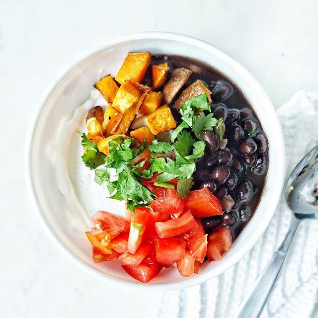 Savory Yogurt Bowl With Sweet Potato And Cilantro