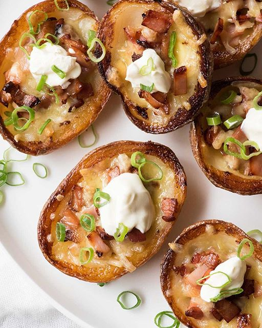 My Potato Skins are extra crispy and extra bacon-y!