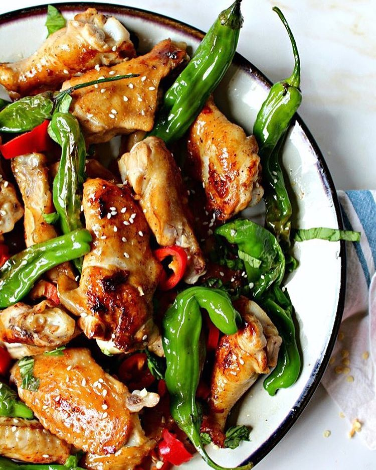 Grilled Asian Chicken Wings With Shishito Peppers