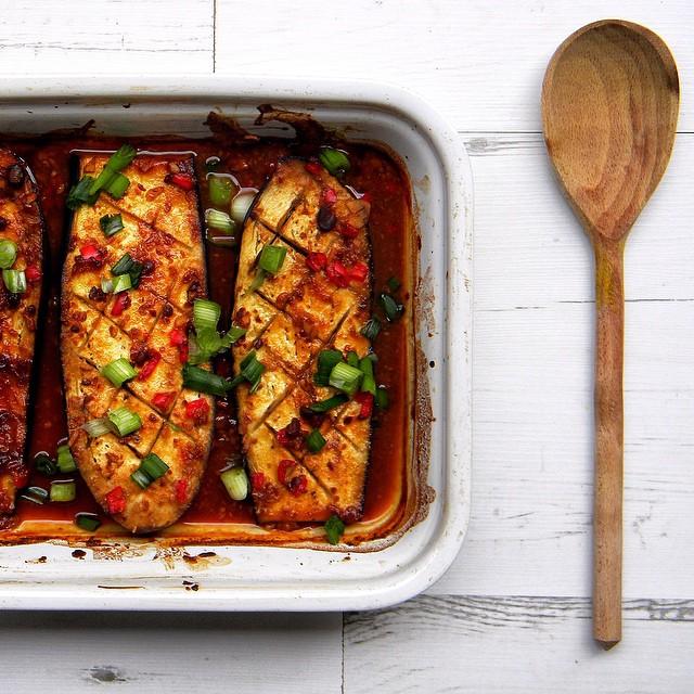 Miso Roasted Aubergine | Eggplant With Toasted Sesame Seeds & Green Onions
