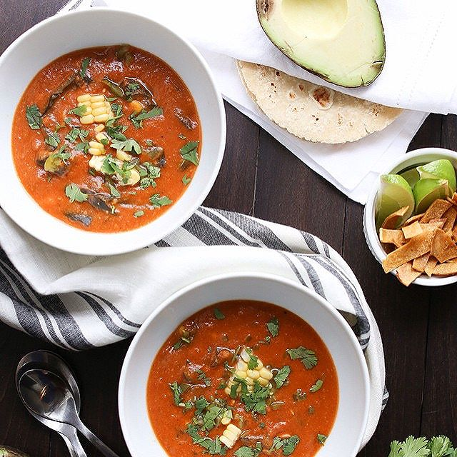 White Corn Tortilla Soup With Roasted Pablano