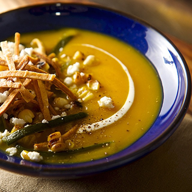 Roasted Pumpkin Poblano Soup With Corn & Tortilla Chips