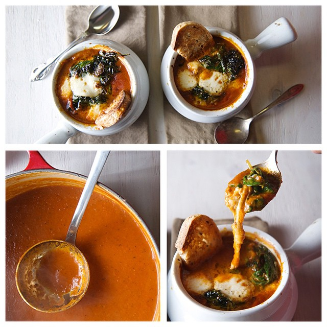 Caprese Fire-roasted Tomato & Spinach Soup