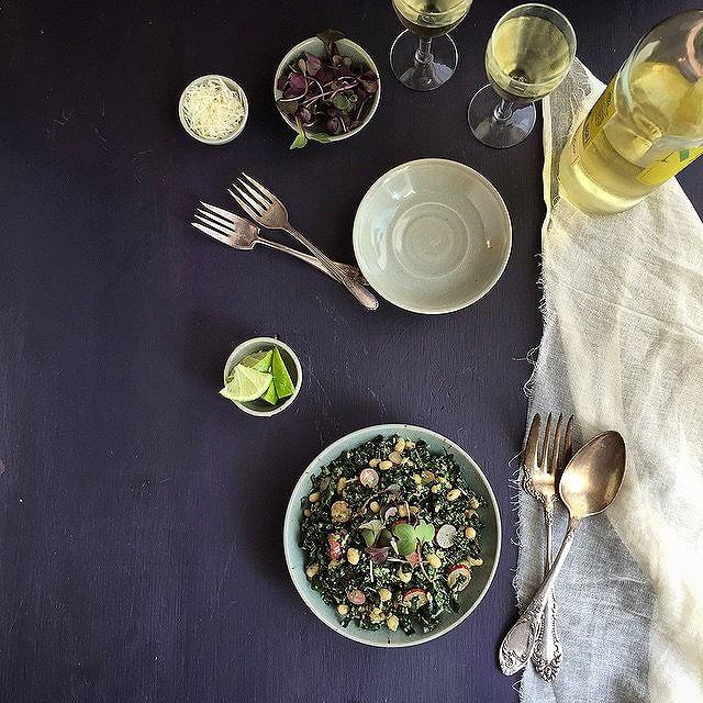 White Bean Kale & Black Rice Salad With Radishes & Asiago