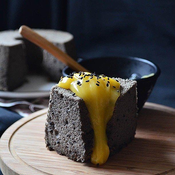 Black Sesame Chiffon Cake With Lemon & Keffir Lime Curd