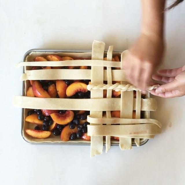 Peach And Blueberry Slab Pie With Lattice Crust