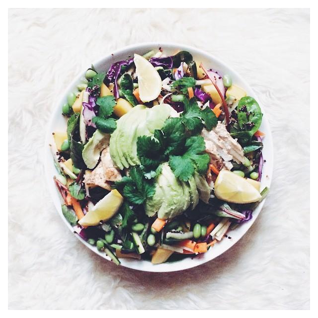Mango Rainbow Quinoa Salad With Ginger-tamari Chicken & Purple Cabbage