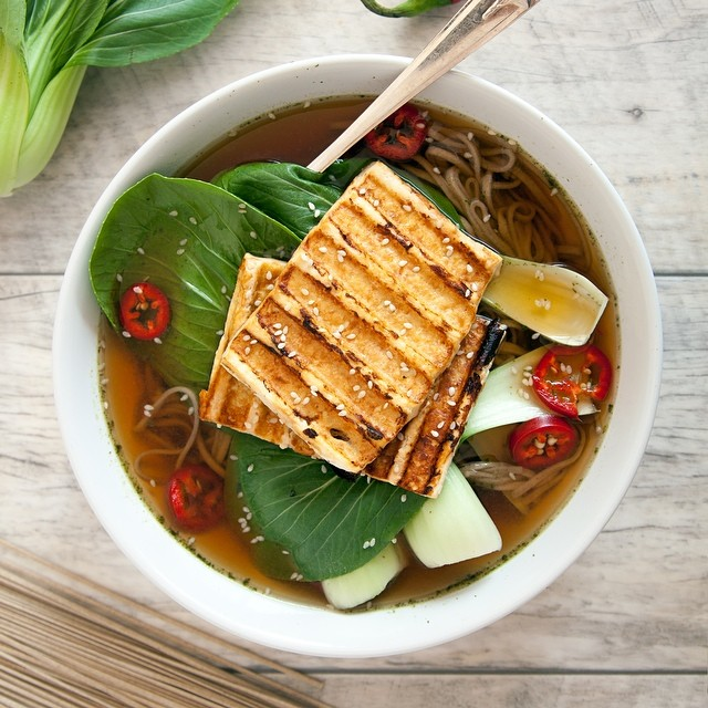 Spicy Grilled Tofu, Bok Choy And Soba Noodle Soup
