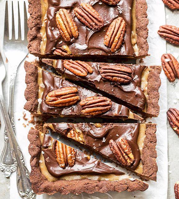 toasted pecans, gooey caramel, crunchy chocolate shortbread, silky chocolate ganache + a sprinkle of…
